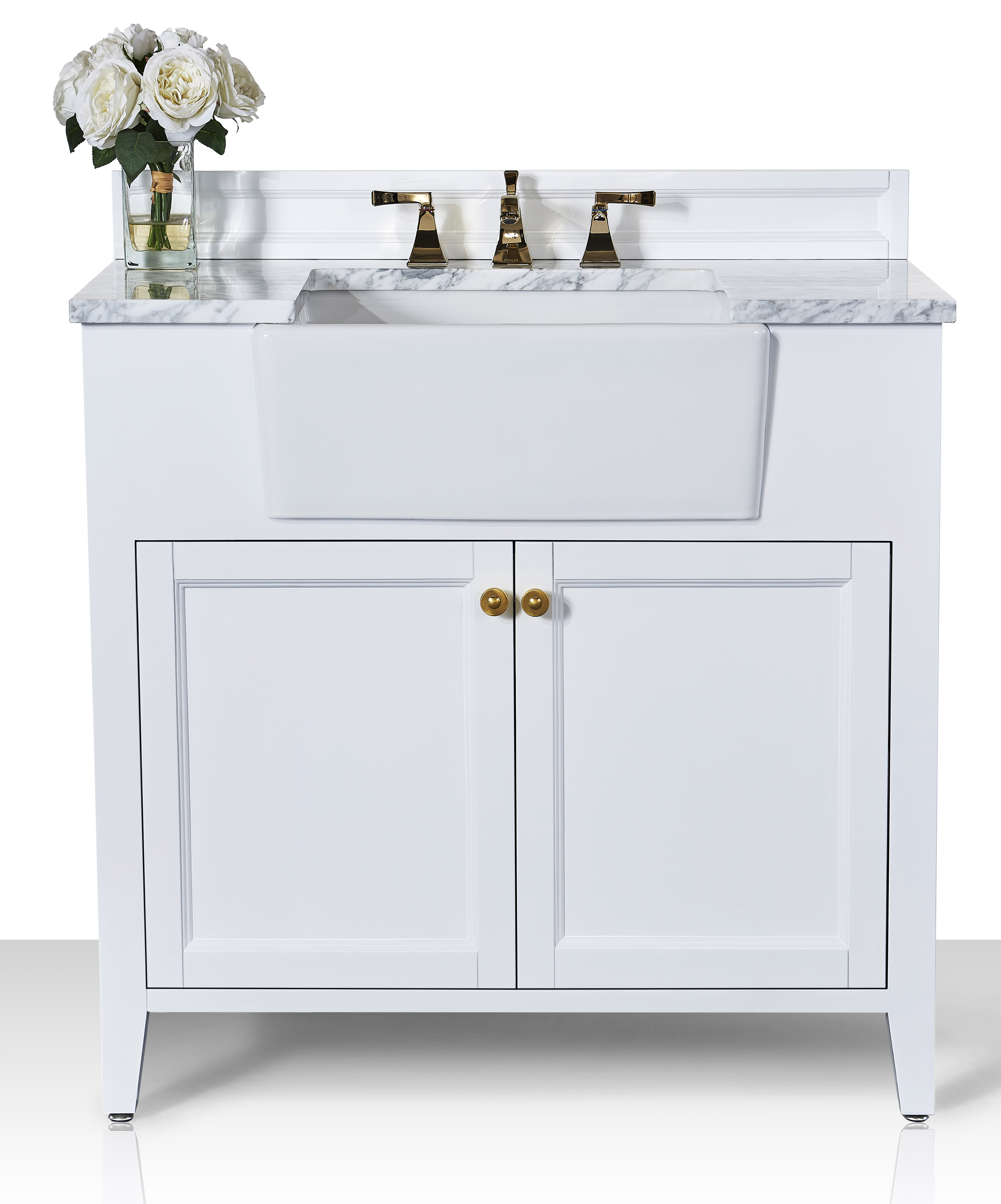 """36"""" Bath Vanity Set in White with Italian Carrara White Marble Vanity Top and White Undermount Basin with Gold Hardware"""