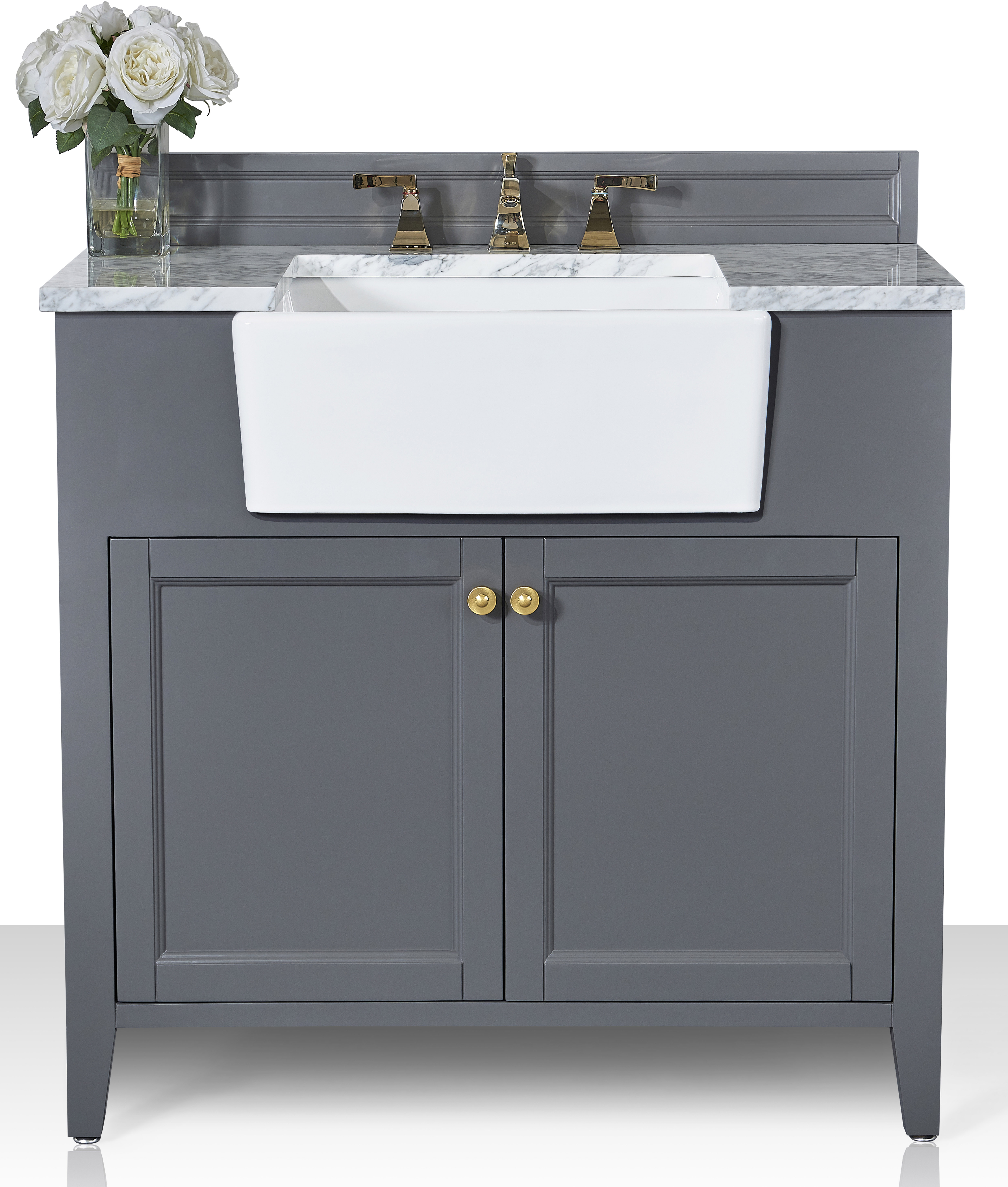 """36"""" Bath Vanity Set in Sapphire Gray with Italian Carrara White Marble Vanity Top and White Undermount Basin with Gold Hardware"""