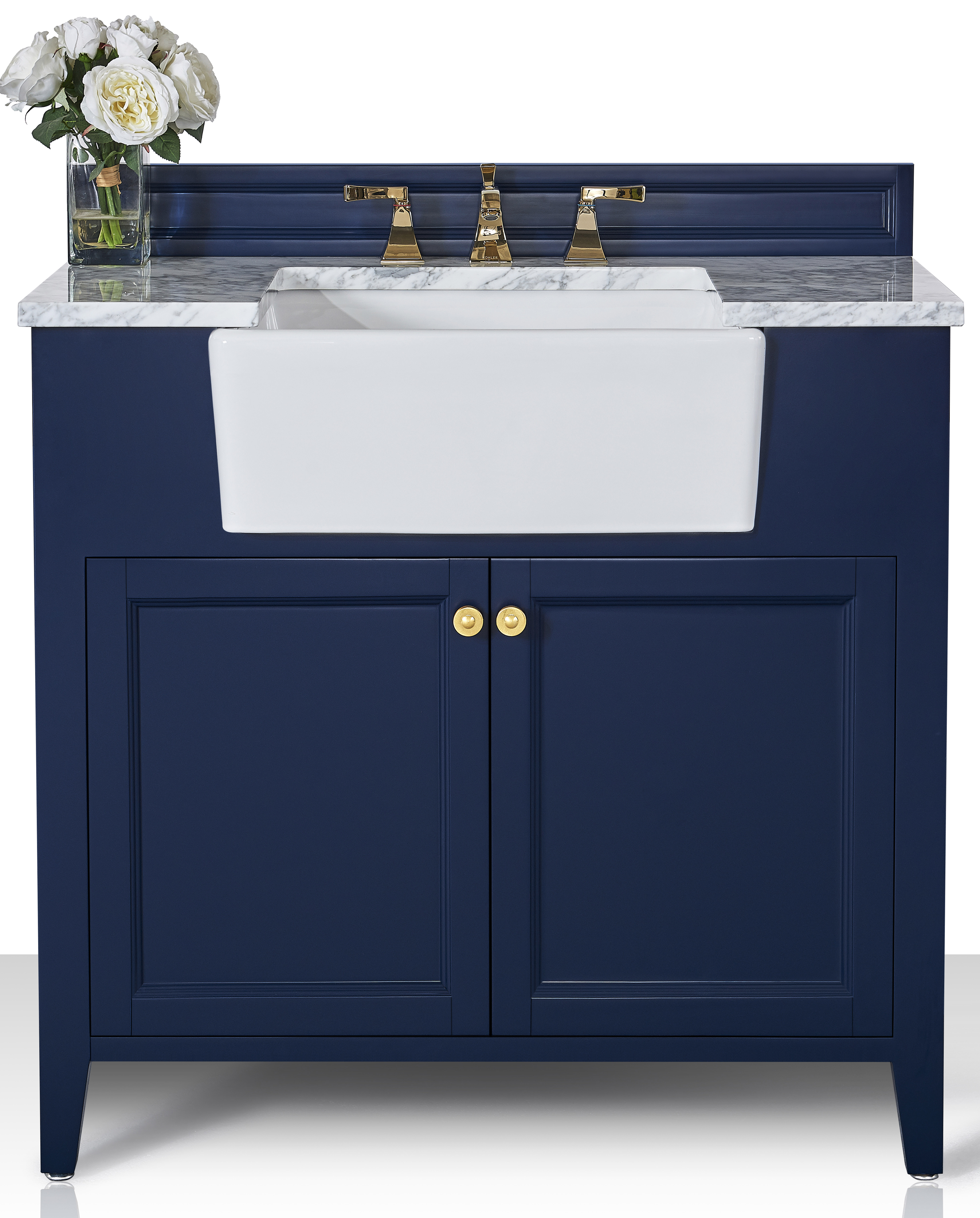 """36"""" Bath Vanity Set in Heritage Blue with Italian Carrara White Marble Vanity Top and White Undermount Basin with Gold Hardware"""