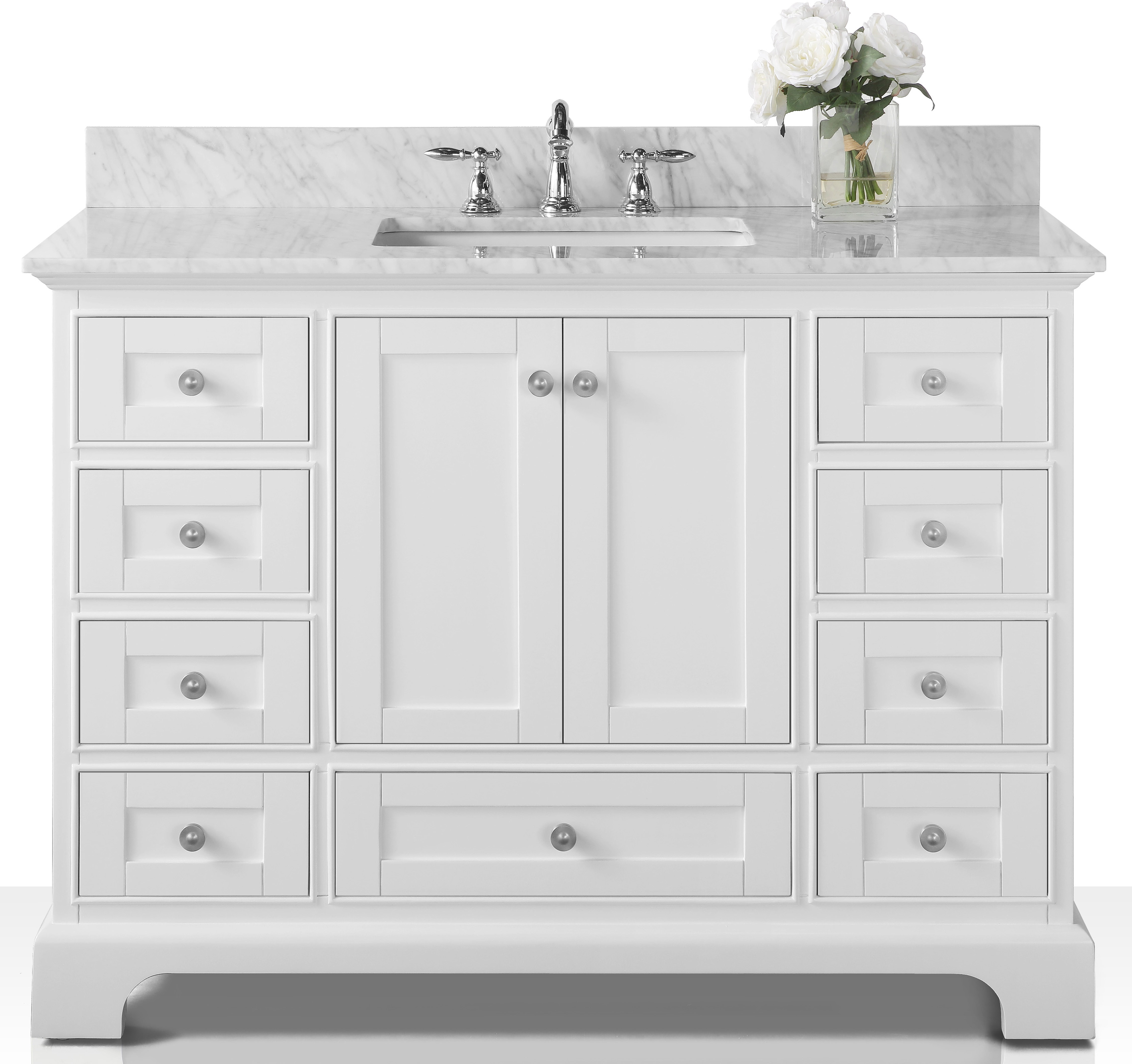"48"" Bath Vanity Set in White with Italian Carrara White Marble Vanity Top and White Undermount Basin with Gold Hardware with Mirror Options"