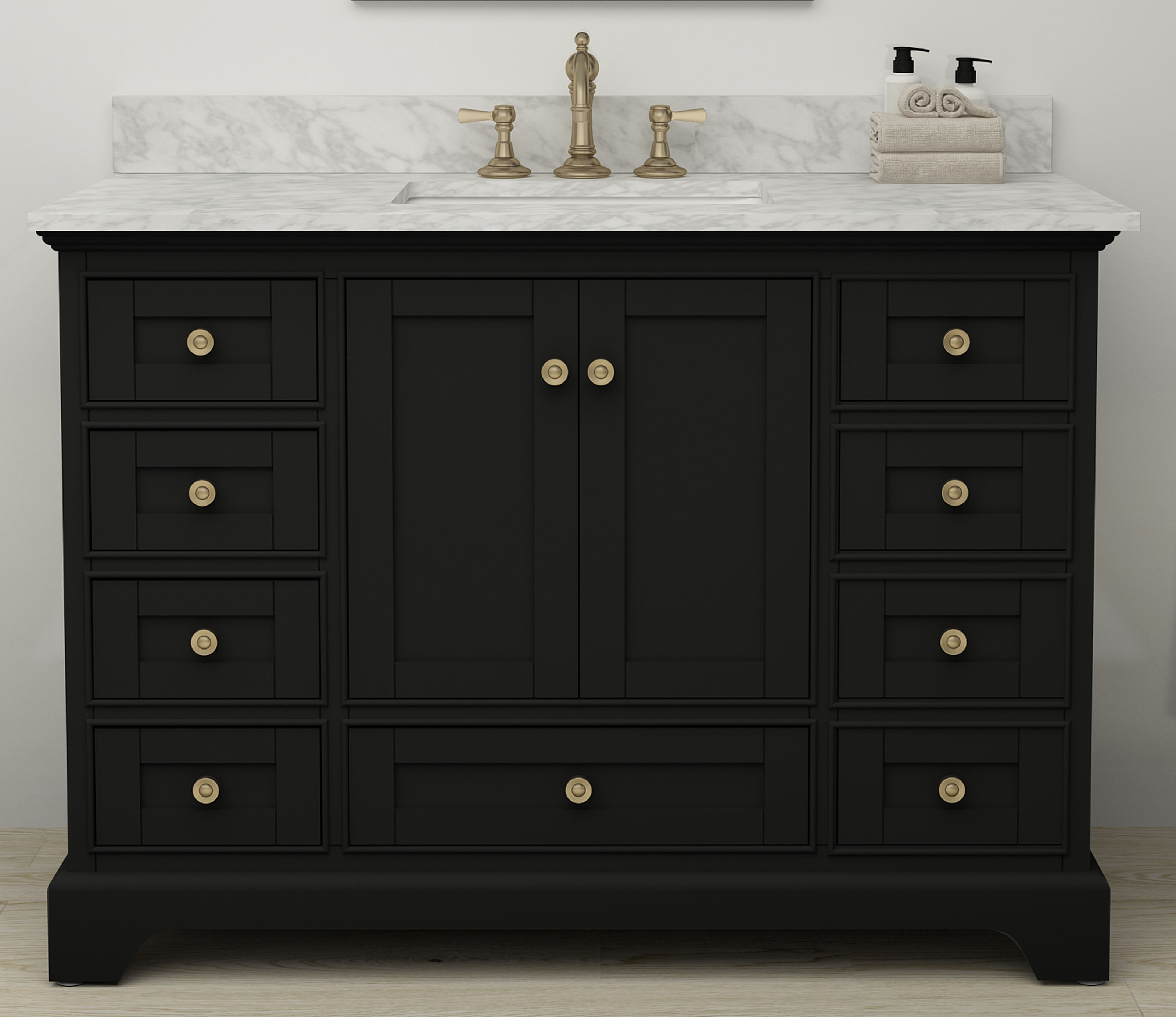 "48"" Bath Vanity Set in Black Onyx with Italian Carrara White Marble Vanity Top and White Undermount Basin with Gold Hardware with Mirror Option"