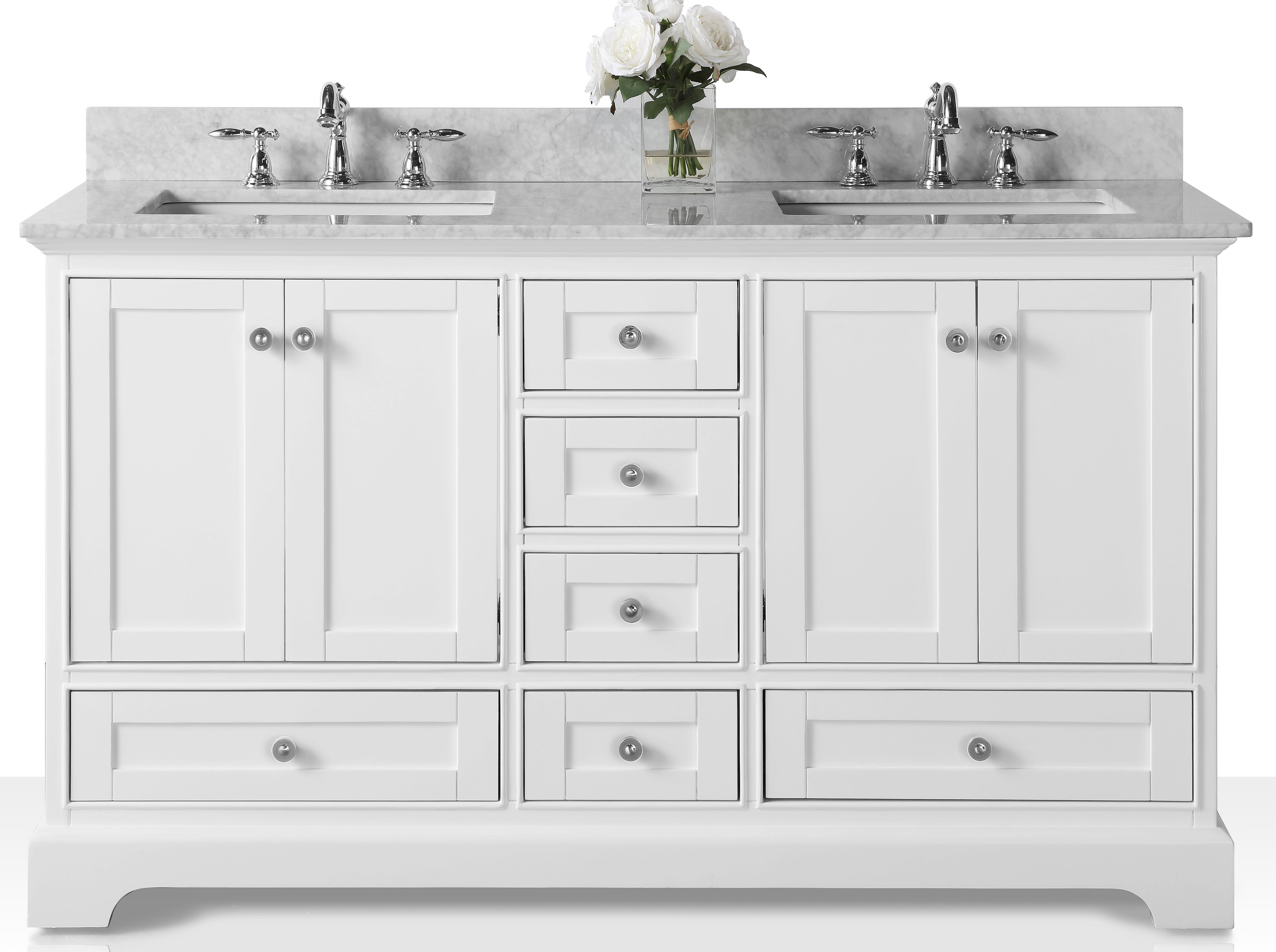 "60"" Bath Vanity Set in White with Italian Carrara White Marble Vanity top and White Undermount Basin with Mirror Option"