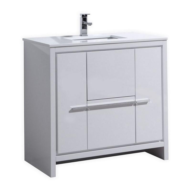"Modern Lux 36"" High Gloss White Modern Bathroom Vanity with White Quartz Counter-Top"