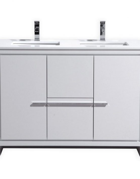 Modern Lux 48 Double Sink High Gloss White Bathroom Vanity With Quartz Counter Top