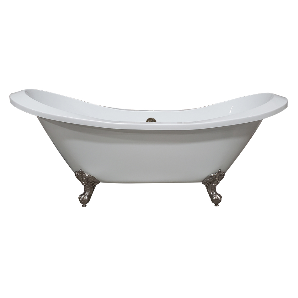 """Cambridge 73"""" Extra Large Acrylic Double Slipper Clawfoot Tub, Brushed Nickel Feet and No Faucet Holes"""