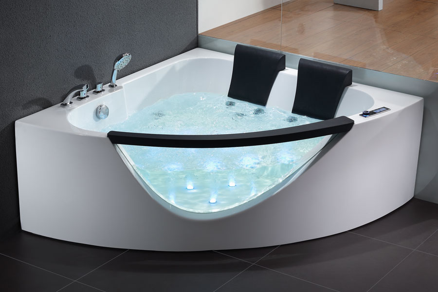 EAGO 5\' Rounded Clear Modern Double Seat Whirlpool Bath Spa