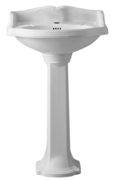 Isabella Collection Traditional Pedestal with an Integrated small oval bowl, Widespread or Single Hole Faucet Drilling, Backsplash, Dual Soap Ledges, Decorative Trim and Overflow