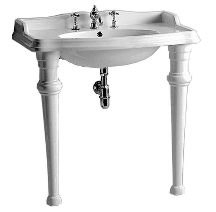 Isabella Collection Rectangular Console with Integrated Oval Bowl, Widespread or Single Hole Faucet Drill, Backsplash, Ceramic Leg Support and Chrome Overflow