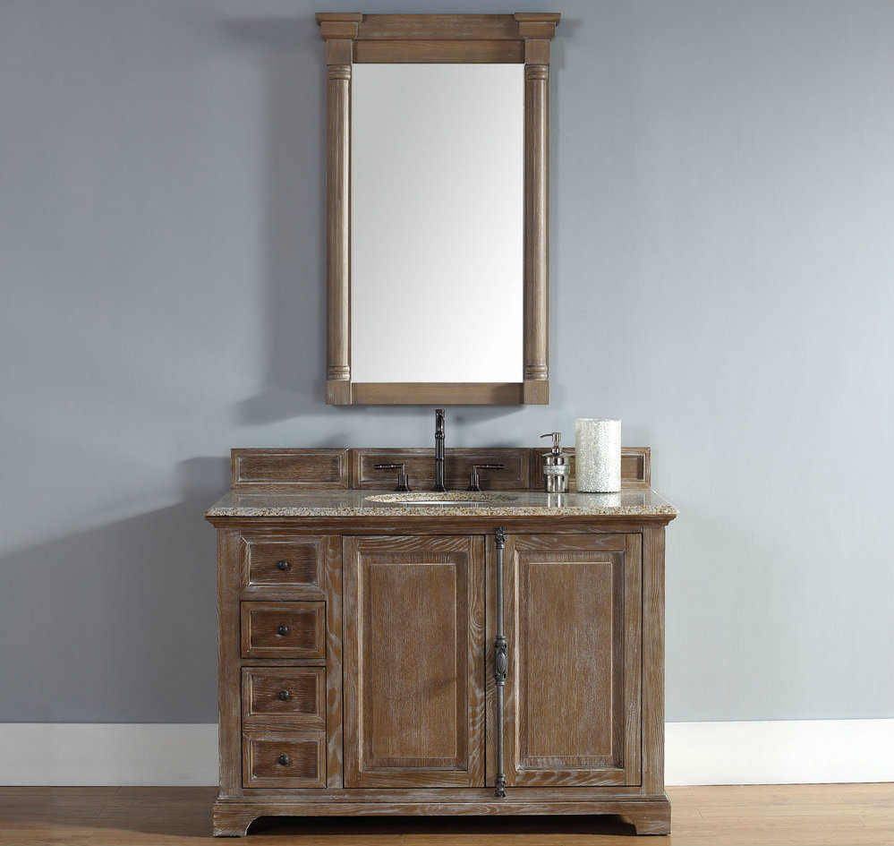 48 inch Driftwood Finish Transitional Bathroom Vanity Optional Countertop