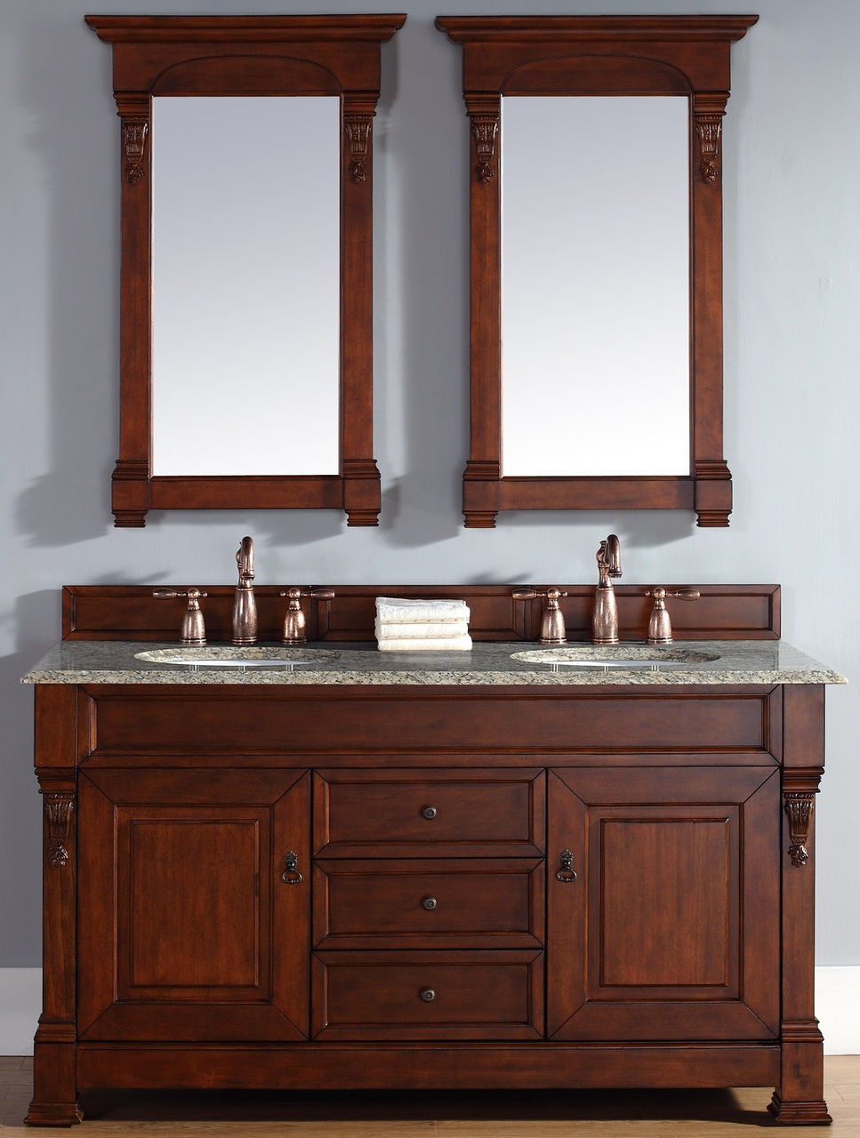 """James Martin Brookfield Collection 60"""" Double Vanity, Warm Cherry"""