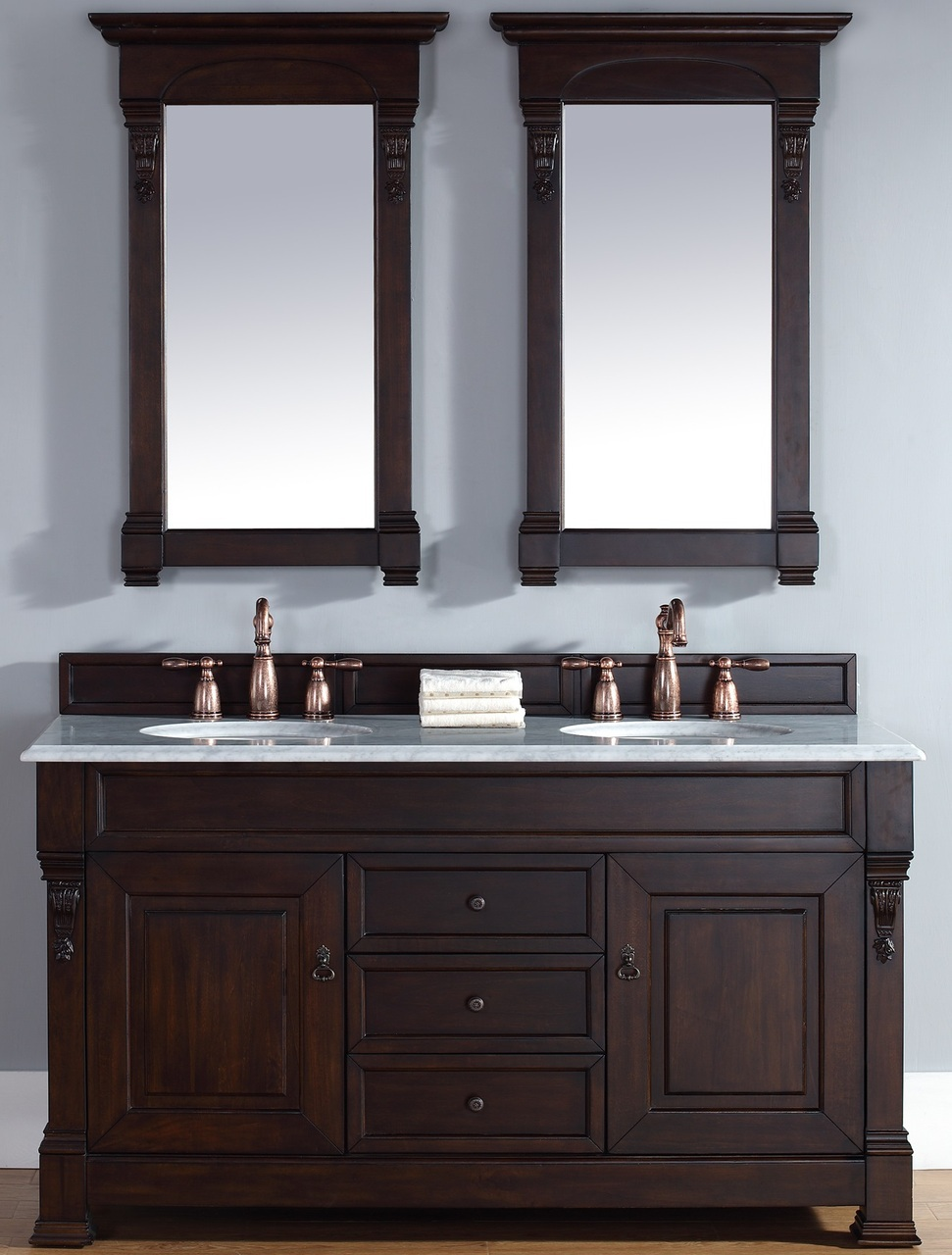 """James Martin Brookfield Collection 60"""" Double Vanity, Burnished Mahogany"""