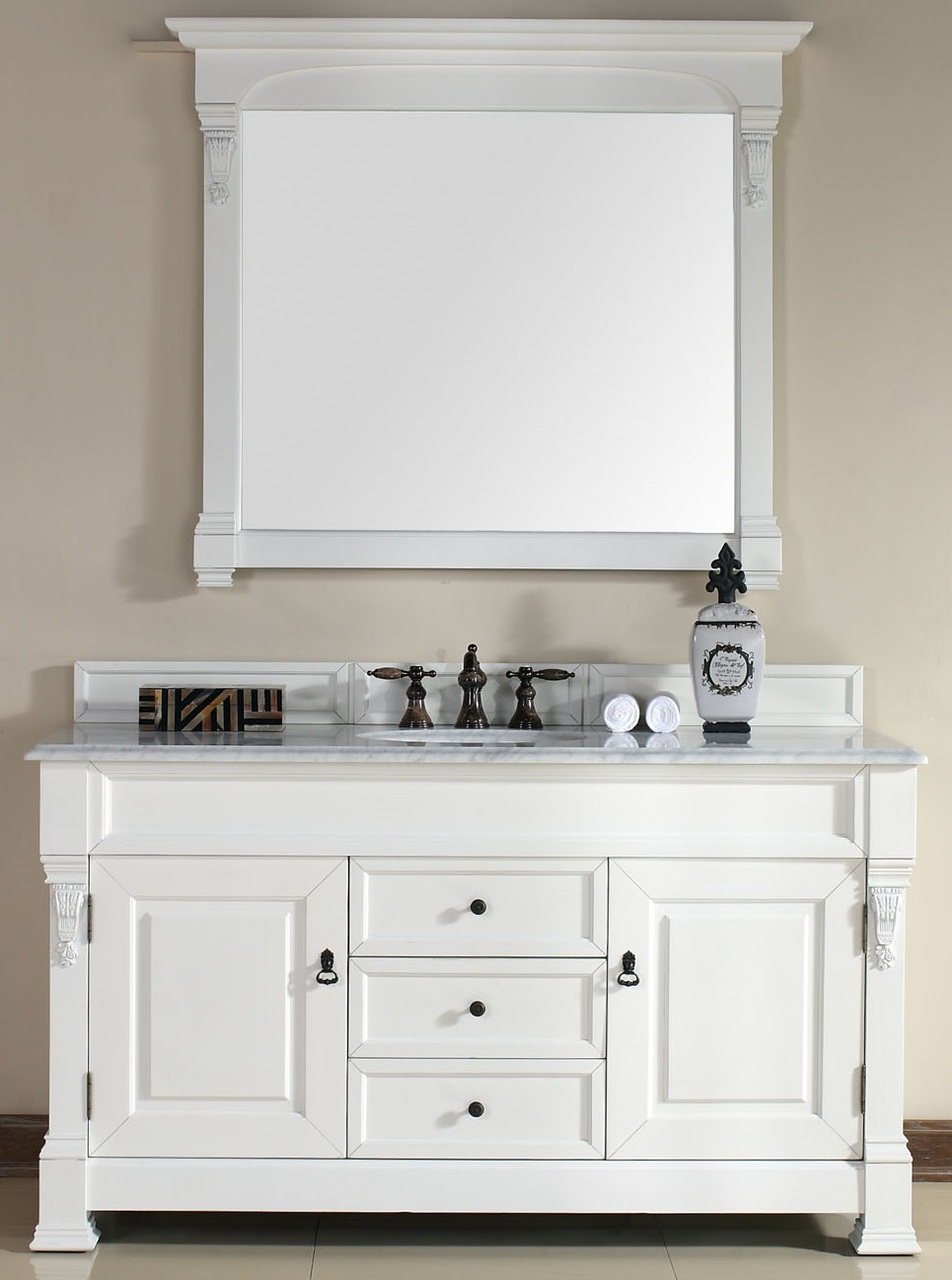 """James Martin Brookfield Collection 60"""" Single Vanity, Cottage White"""