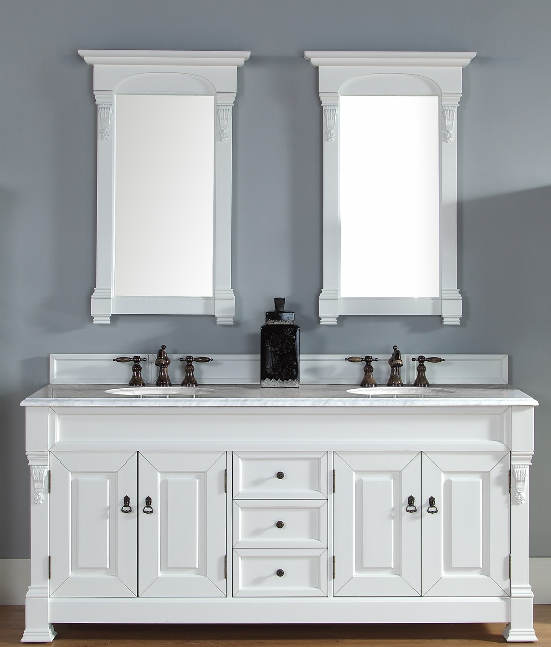 White double bathroom vanity - 72 Inch Cottage White Double Bathroom Vanity Optional Countertops