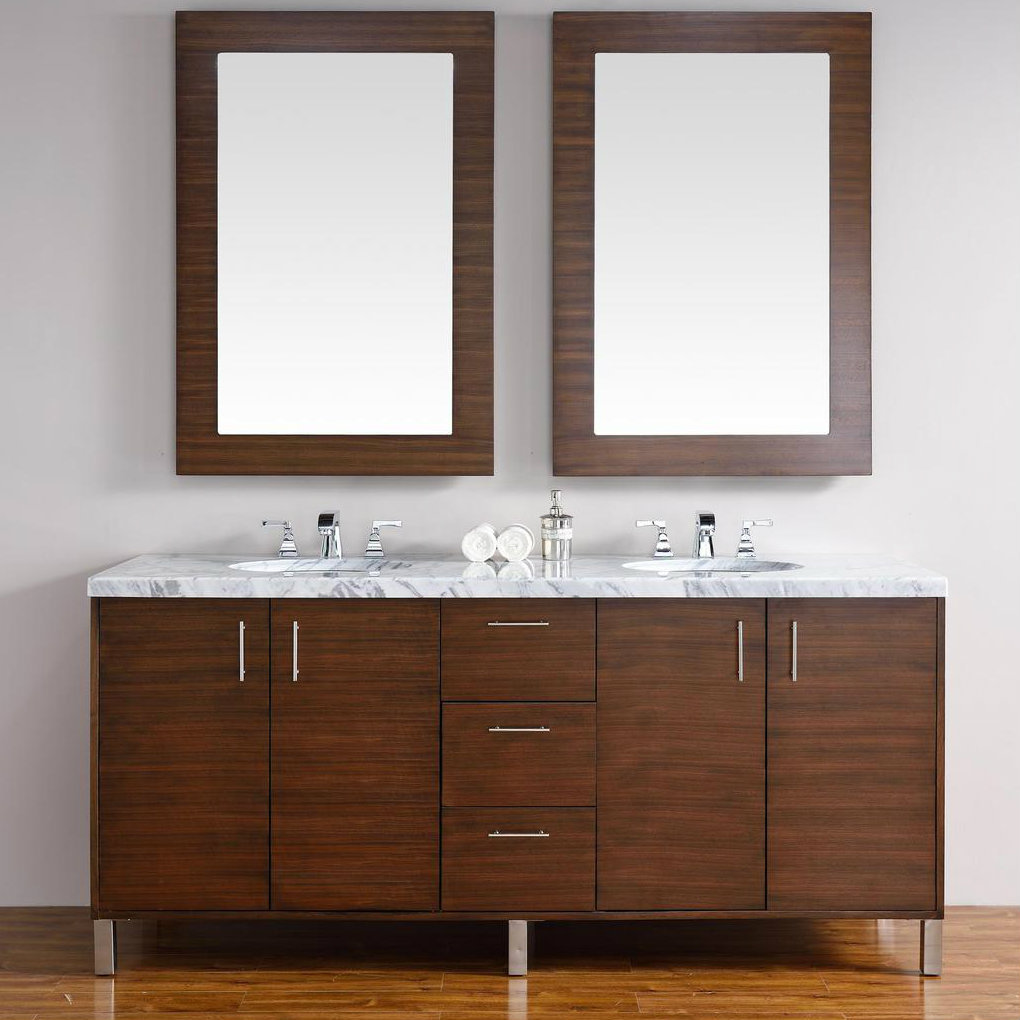 Abstron 72 inch walnut finish bathroom vanity stone for Bathroom 72 inch vanity