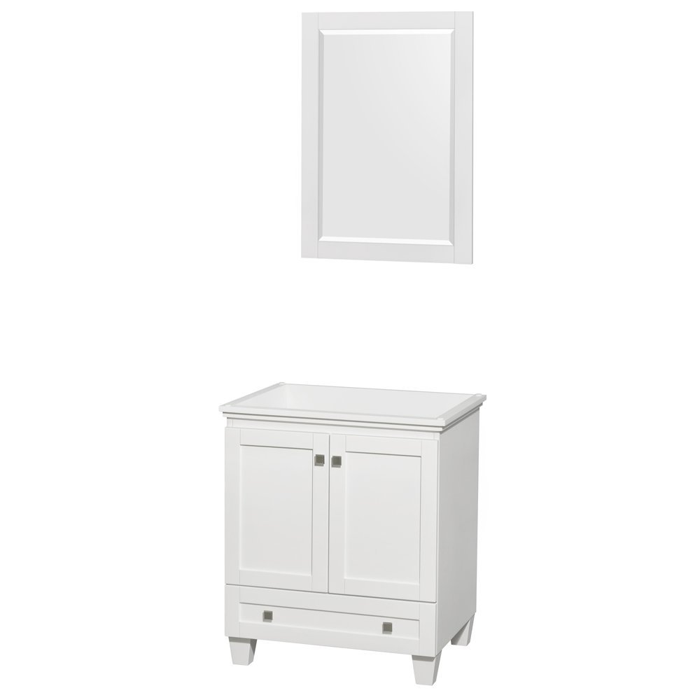 "Acclaim 30"" Single Bathroom Vanity in White, No Countertop, No Sink, and 24"" Mirror"