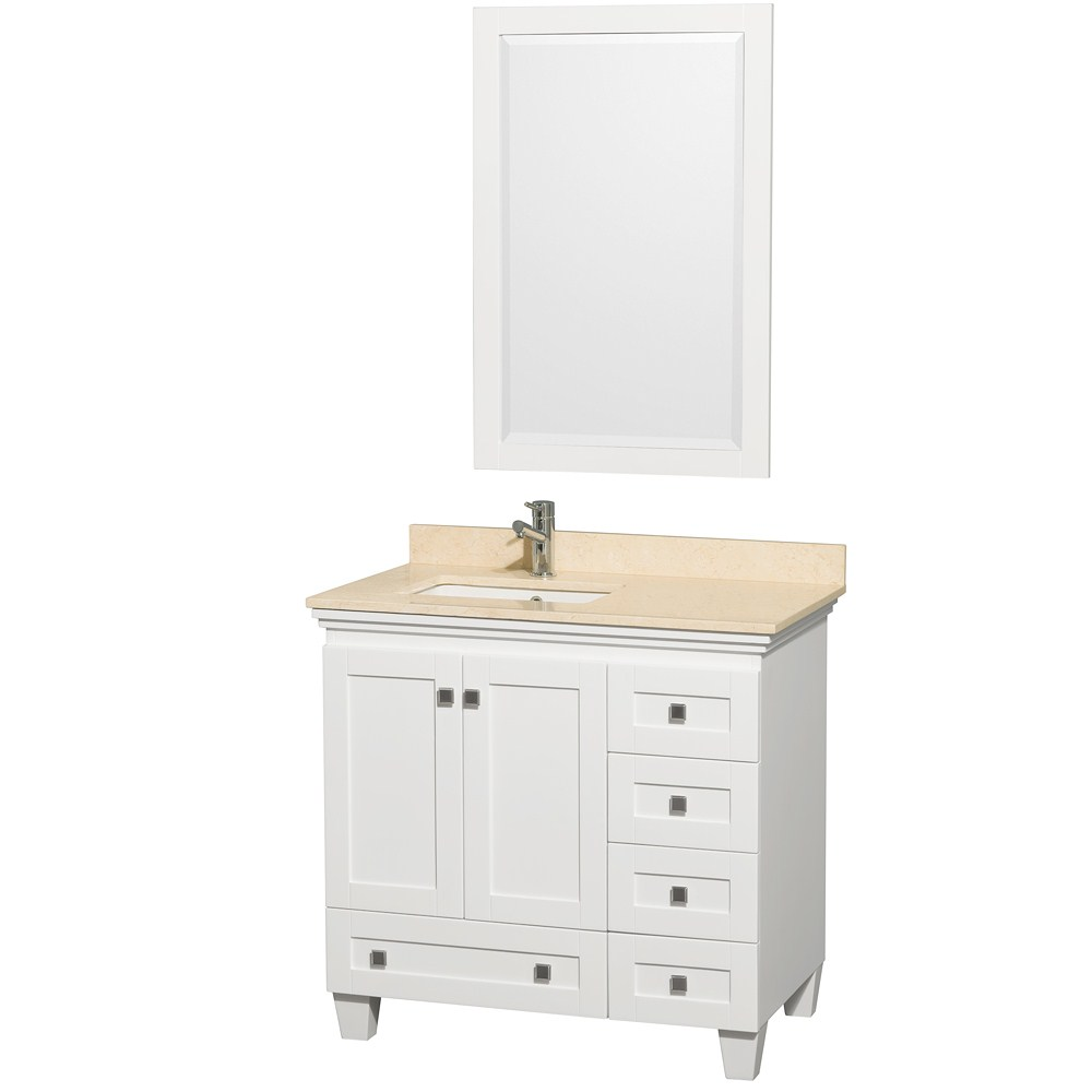 36 inch White Bathroom Vanity Ivory or White Marble Top