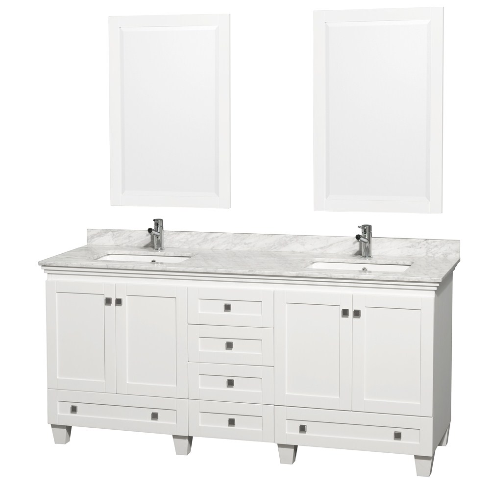 "Acclaim 72"" Double Bathroom Vanity in White, Undermount Square Sinks, and 24"" Mirrors with Countertop Options"