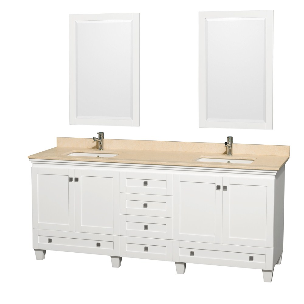 80 inch White Finish Contempoprary Double Bathroom Vanity Set