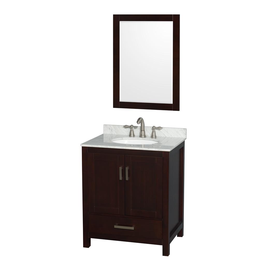 "Sheffield 30"" Single Bathroom Vanity in Espresso with Countertop, Undermount Sink, and Mirror Options"