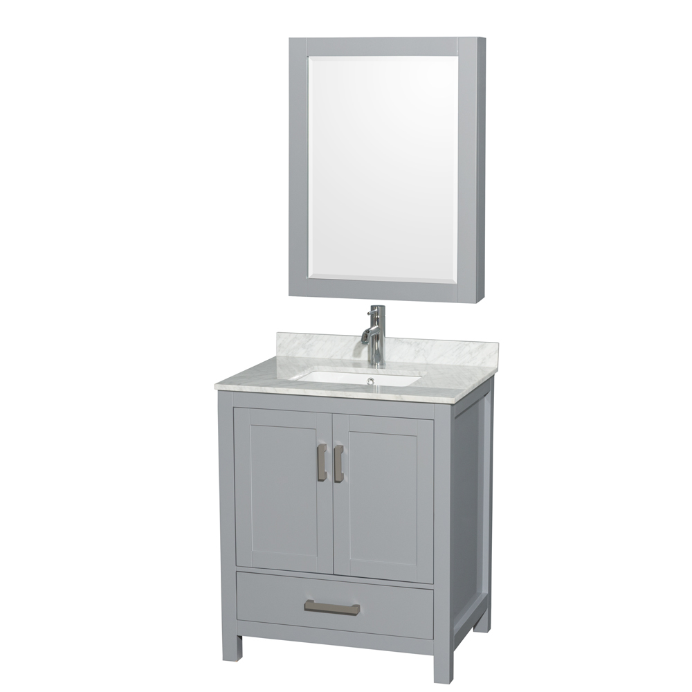 "Sheffield 30"" Single Bathroom Vanity in Gray with Countertop, Undermount Sink, and Mirror Options"