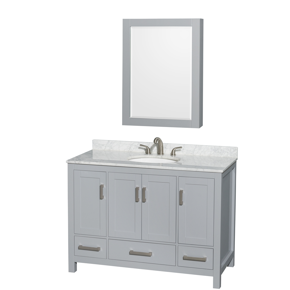 Accmilan 48 Inch Transitional Grey Finish Bathroom Vanity Set