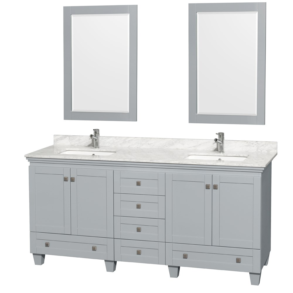"""Acclaim 72"""" Double Bathroom Vanity in Oyster Gray, Undermount Square Sinks with Countertop and Mirror Options"""