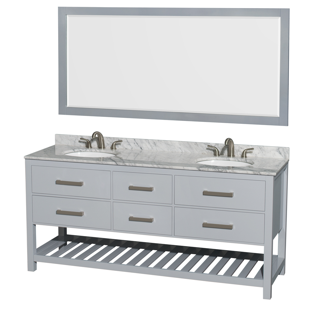 Accmilan 72 Inch Wall Mounted Double Sink Bathroom Vanity