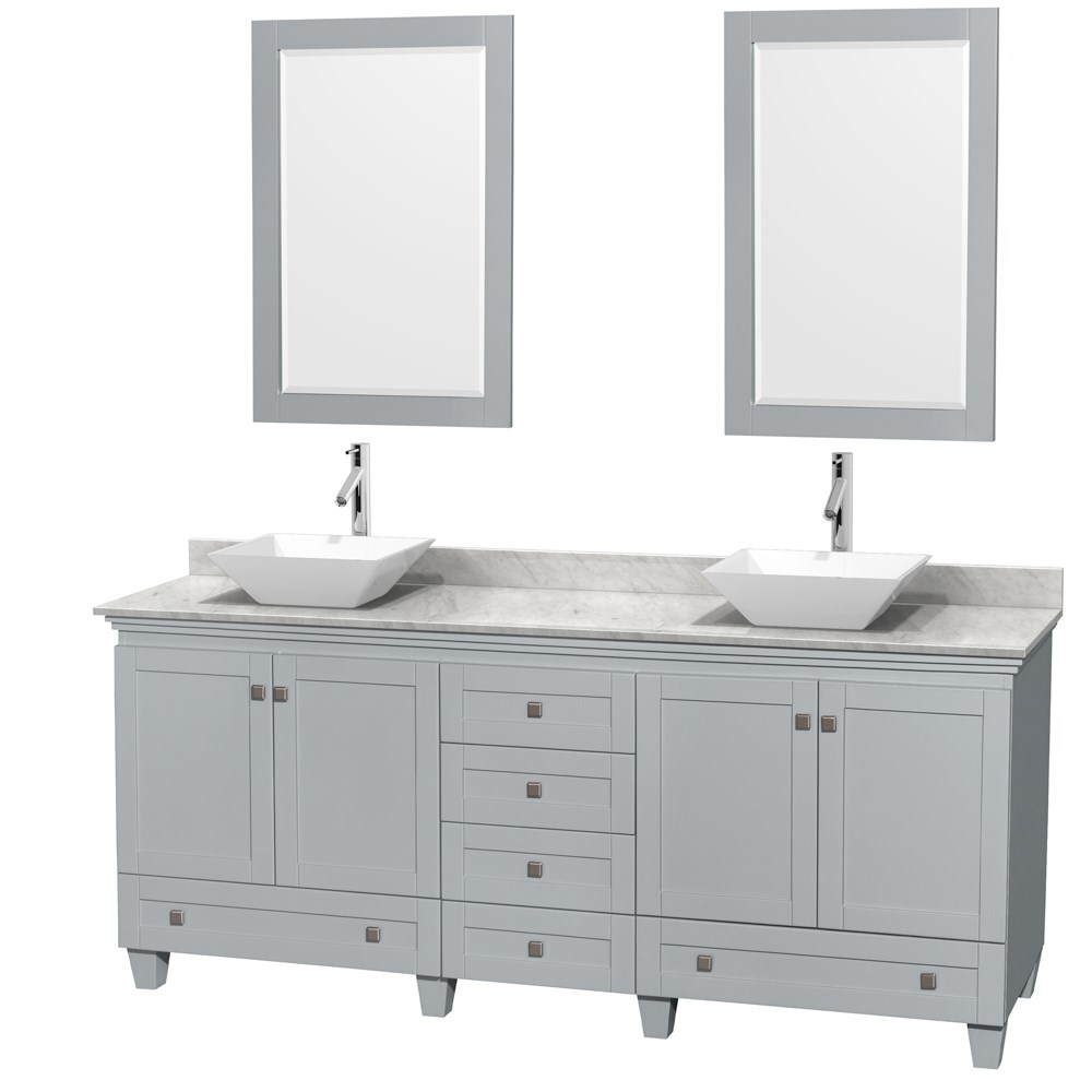 Accmilan 80 Inch Double Sink Bathroom Vanity In Grey Finish White Porcelain And Tyra Bone
