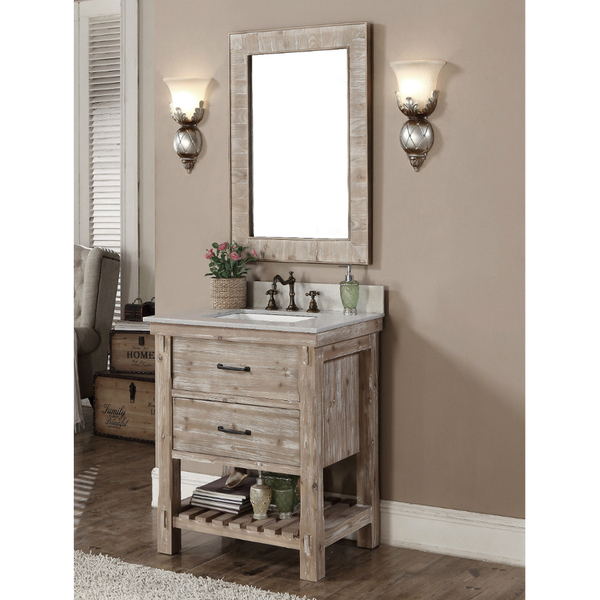 Accos 30 inch rustic bathroom vanity with matching wall mirror for Bathroom 30 inch vanity