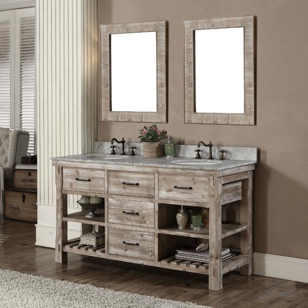 60 inch Rustic Double Sink Bathroom Vanity Marble Top