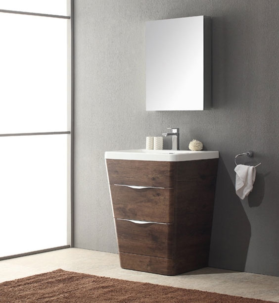 25 inch Modern Bathroom Vanity Rosewood Finish
