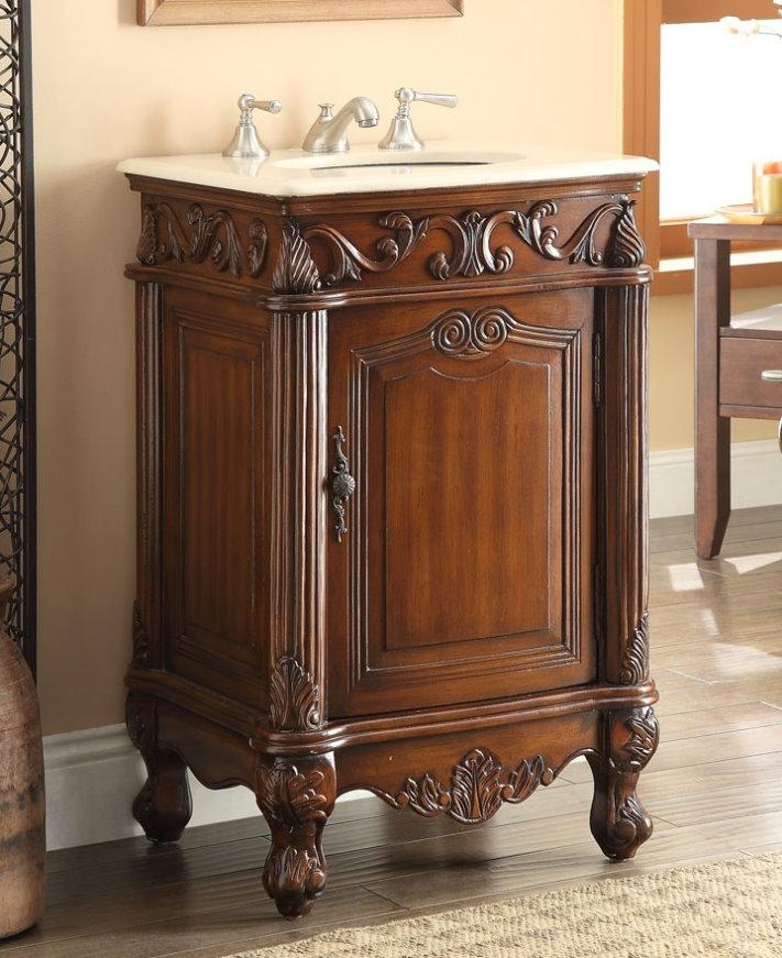 21 inch Adelina Antique Brown Finish Bathroom Vanity