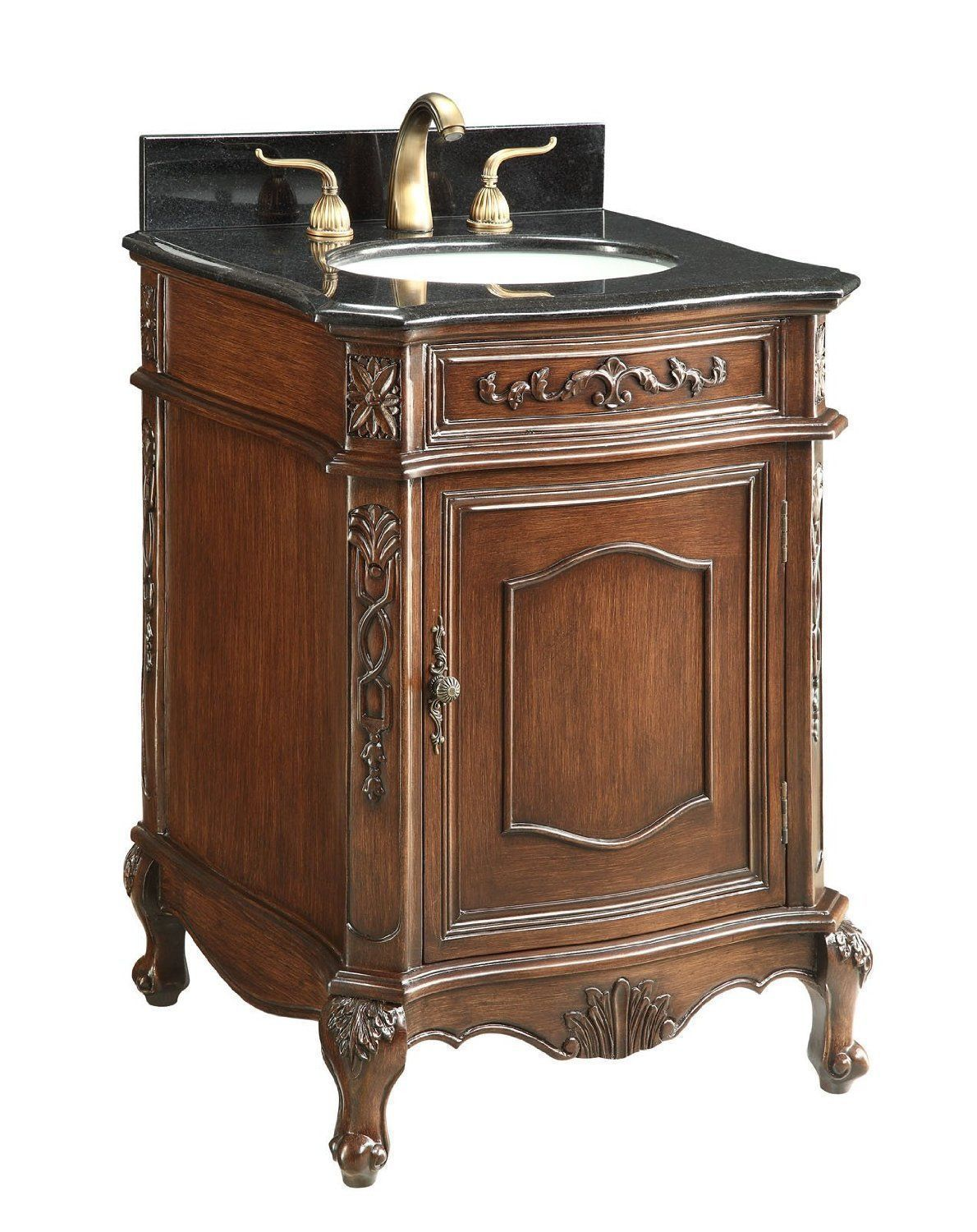 24 inch Adelina Antique Bathroom Vanity Black Granite Top