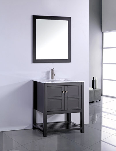 24 inch Contemporary Espresso Finish Bathroom Vanity Cabinet