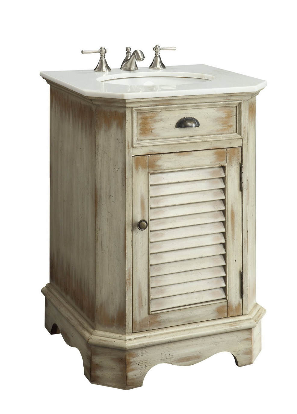 24 inch Adelina Cottage Antique Finish Bathroom Vanity