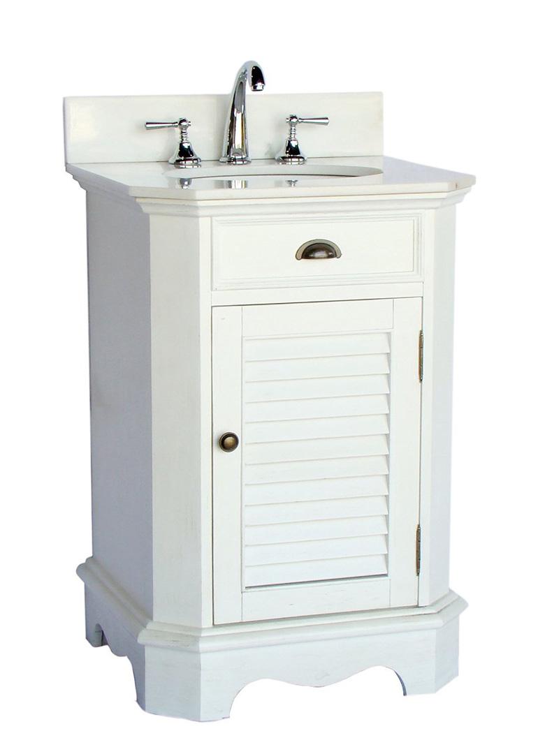 24 inch Adelina Cottage White Finish Bathroom Vanity