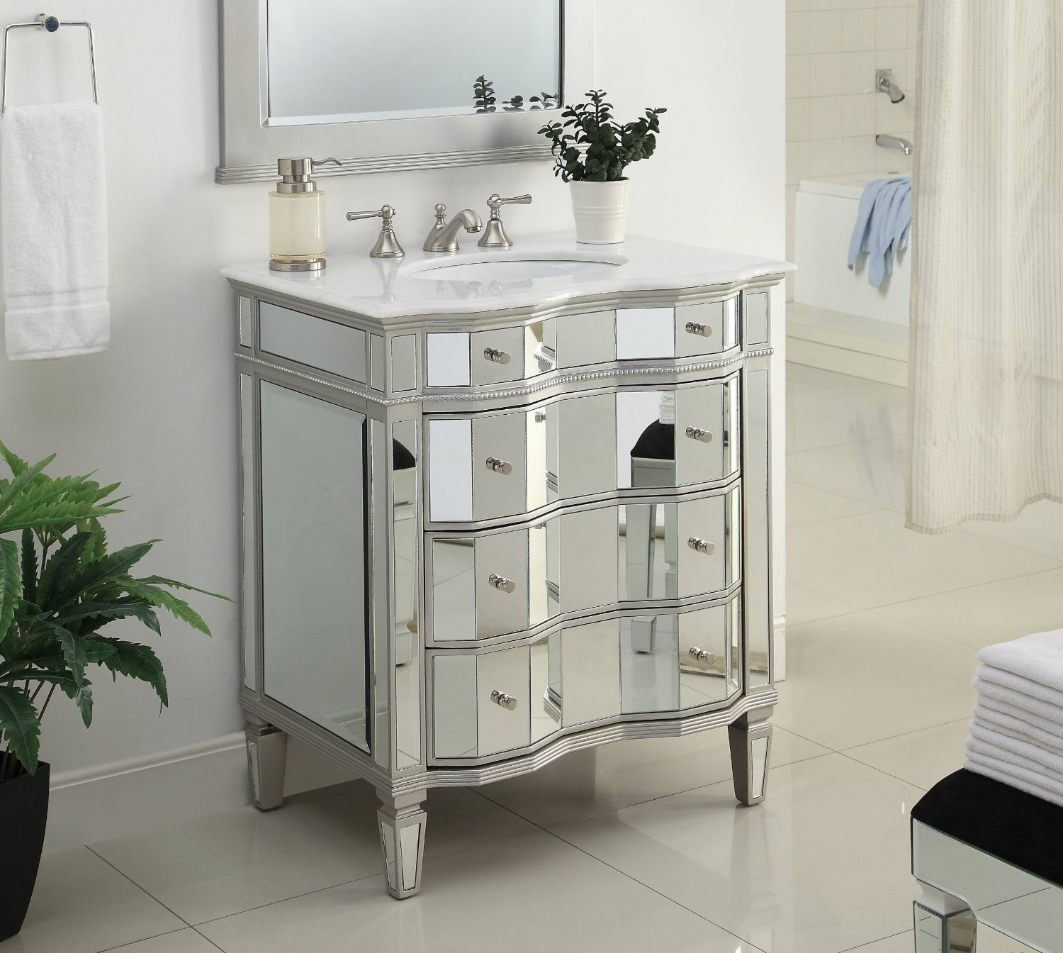 30 inch Adelina Mirrored Bathroom Vanity White Marble Top