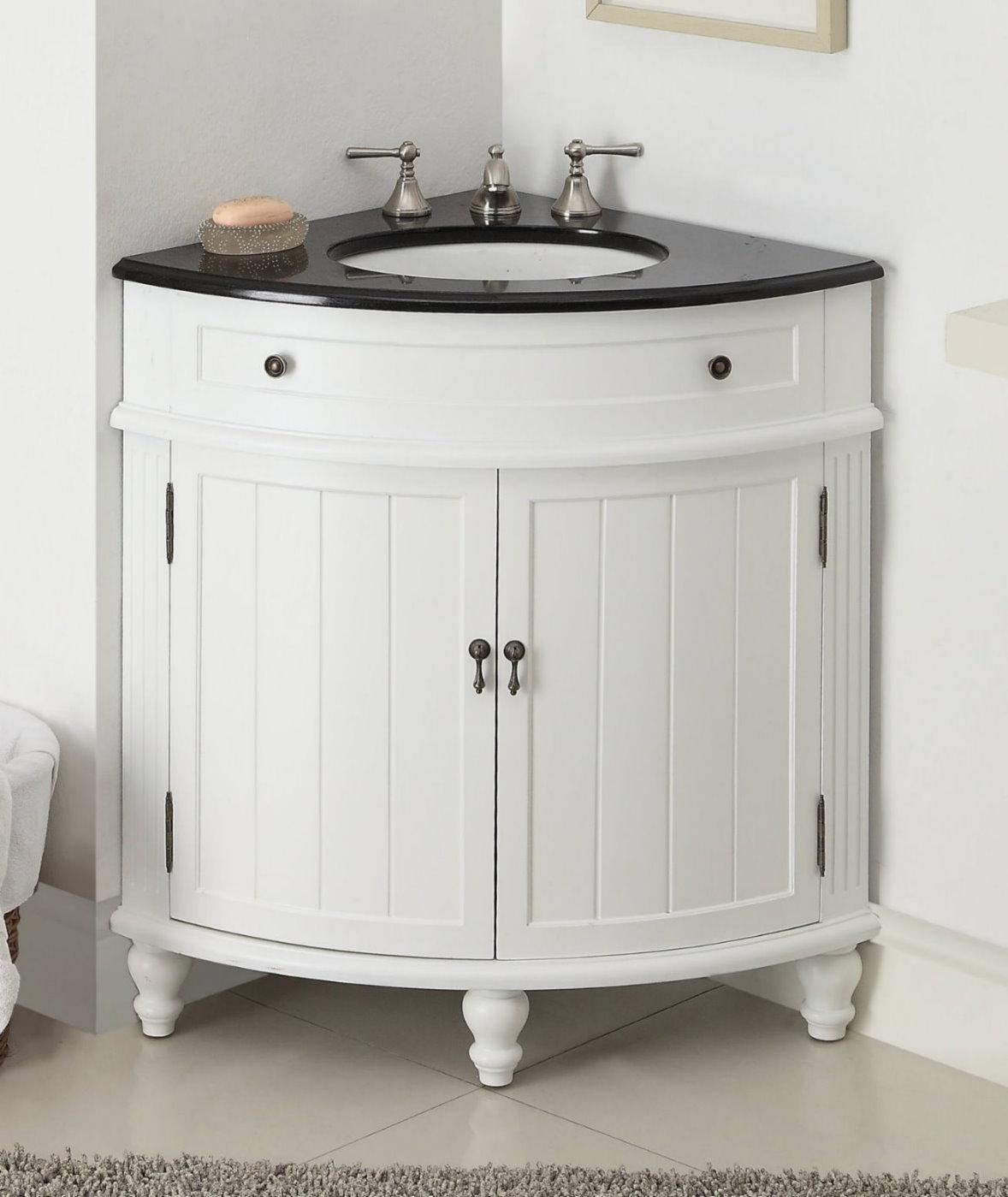 24 inch Adelina Corner Antique Bathroom Vanity White Wood Finish