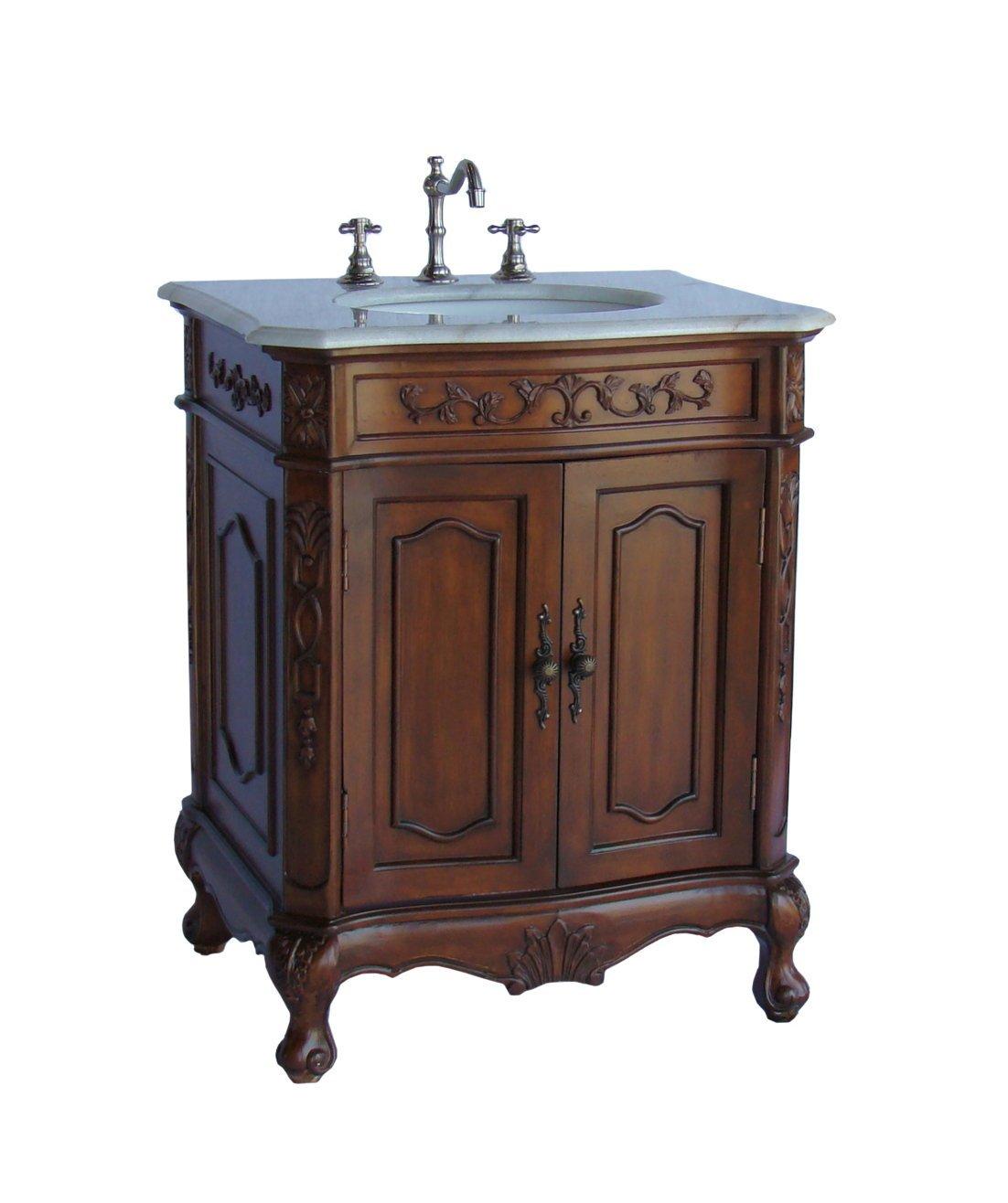 Adelina 27 inch Old Fashion Bathroom Vanity Walnut Finish