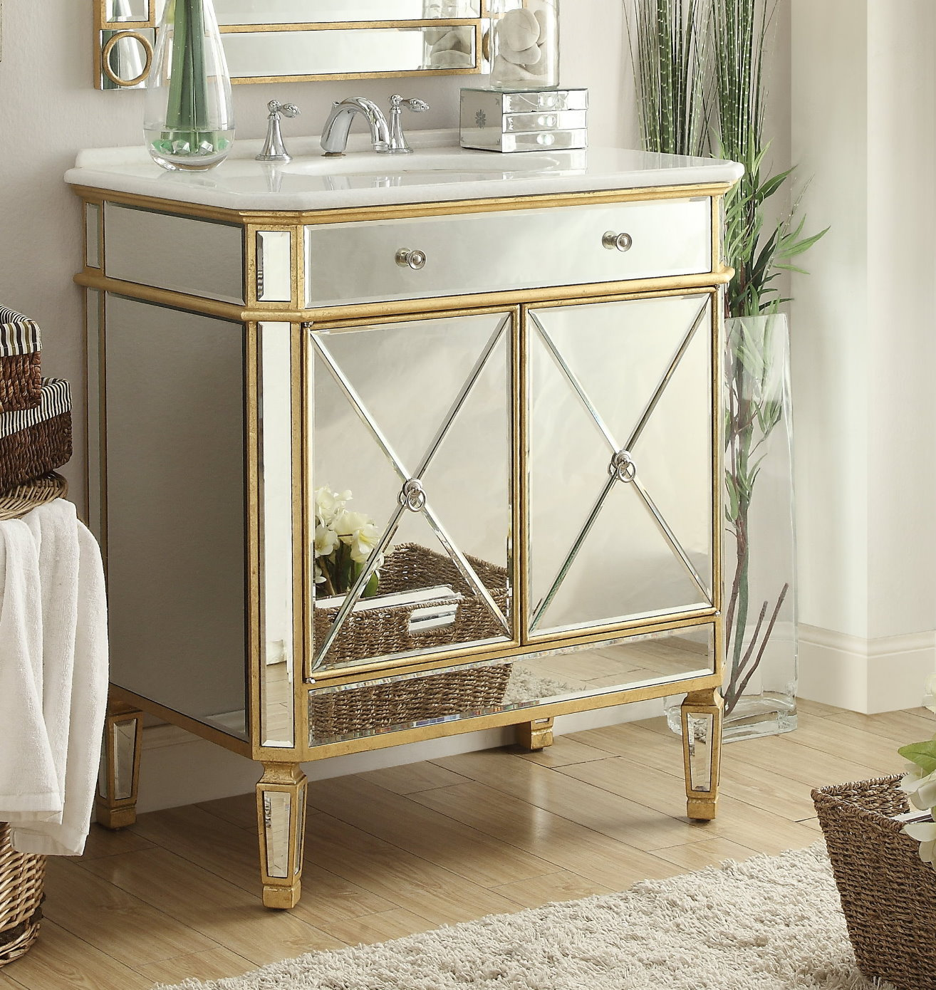 bathroom cabinets without mirrors adelina 32 inch mirrored gold bathroom vanity white marble top 15686