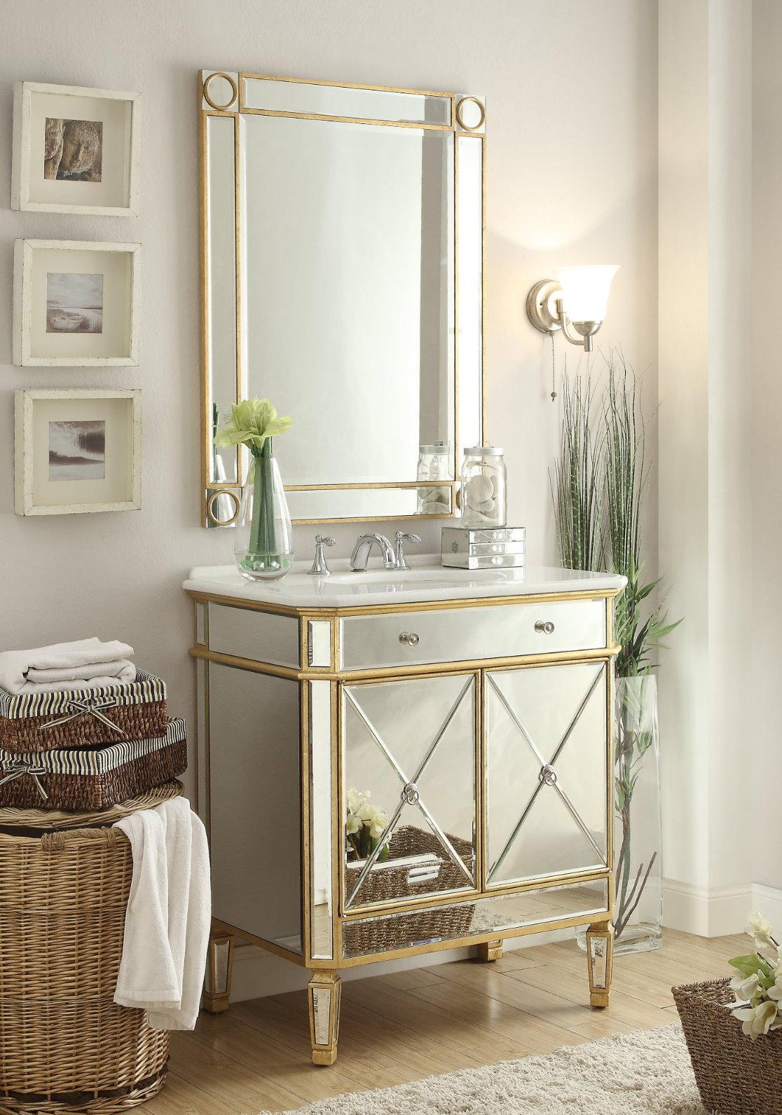 32 inch Adelina Mirrored Gold Bathroom Vanity & Mirror