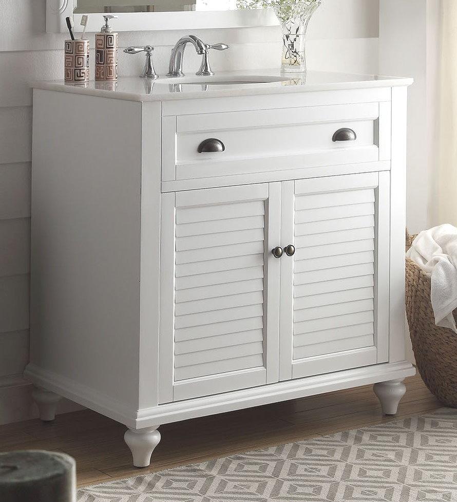 34 inch Adelina Cottage Bathroom Vanity White Finish