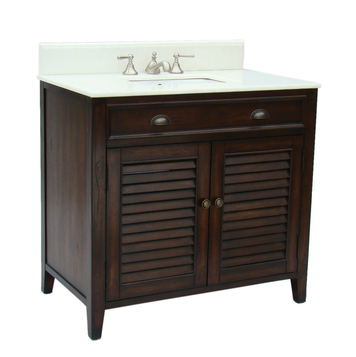36 inch Adelina Cottage Brown Finish Bathroom Vanity