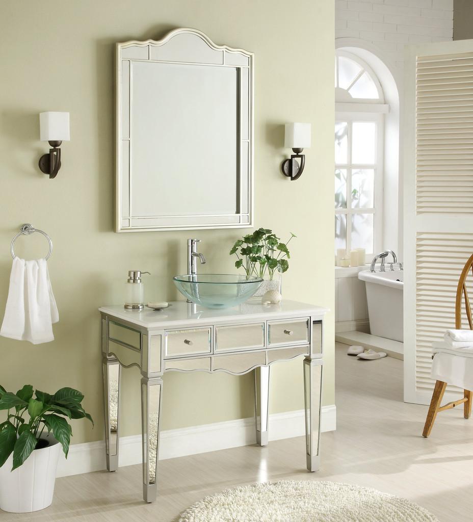 Adelina 36 inch Mirrored Vessel Sink Bathroom Vanity