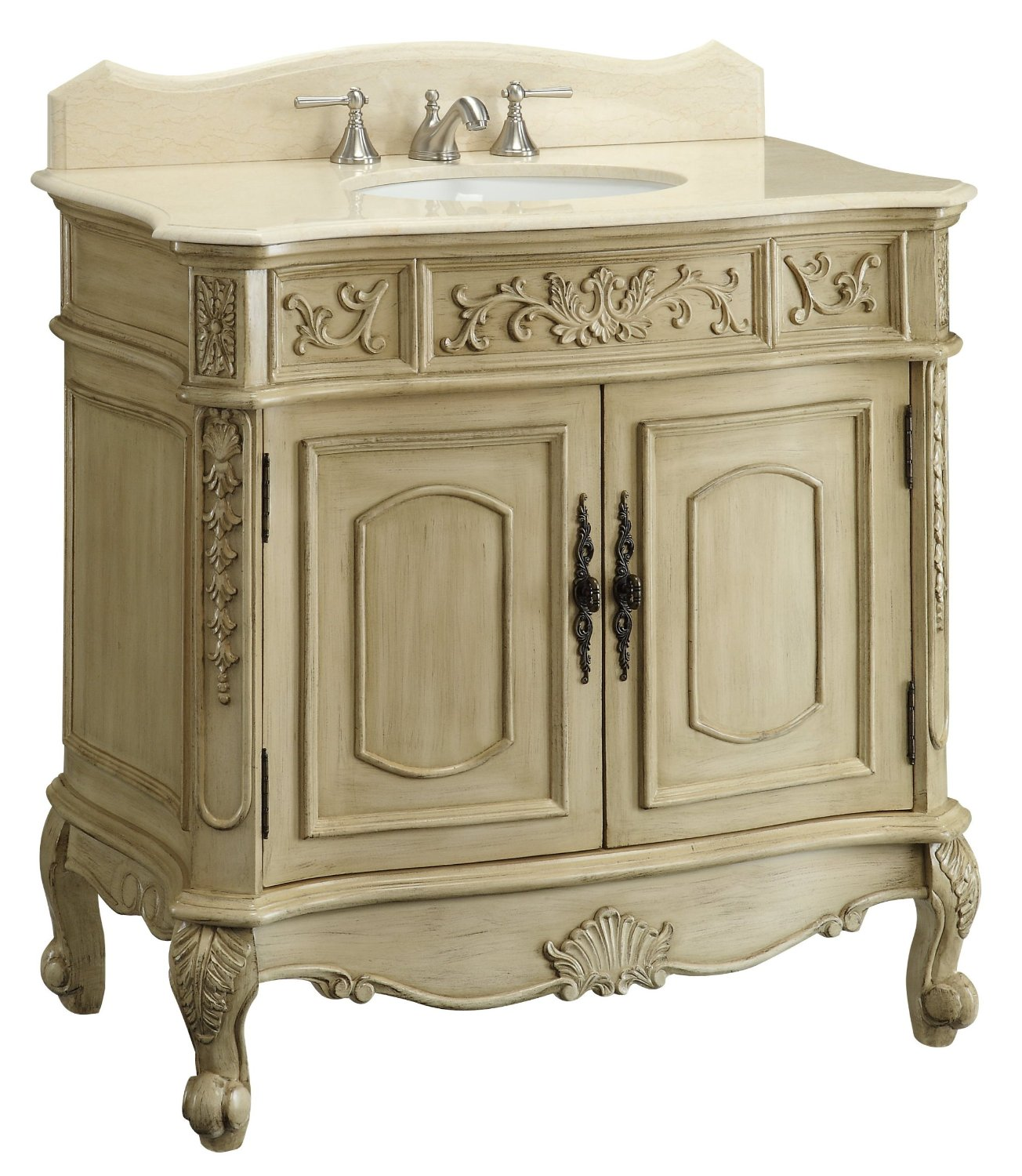 Adelina 37 inch Antique White Bathroom Vanity - Adelina 37 Inch Unique Antique Bathroom Vanity, White Marble Counter Top