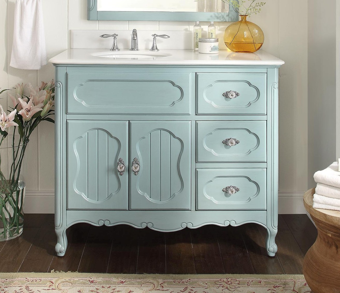 Adelina 42 Inch Antique Cottage Bathroom Vanity Light Blue Finish White Marble Top