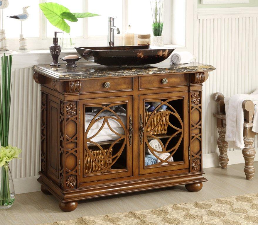 """Adelina 42"""" Benton Collection Italian Portoro Marble Top Vigo Bathroom Sink Vanity"""