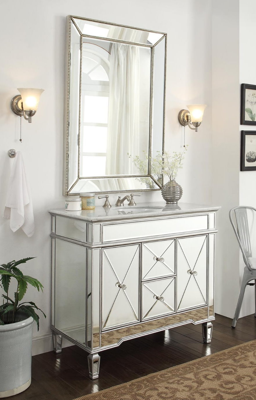 adelina 44 inch mirrored bathroom vanity cabinet fully assembled white marble counter top