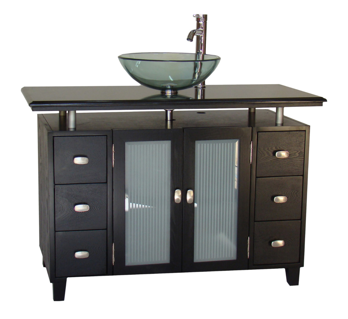 Adelina 46 inch vessel sink bathroom vanity black granite top Black vessel bathroom sink