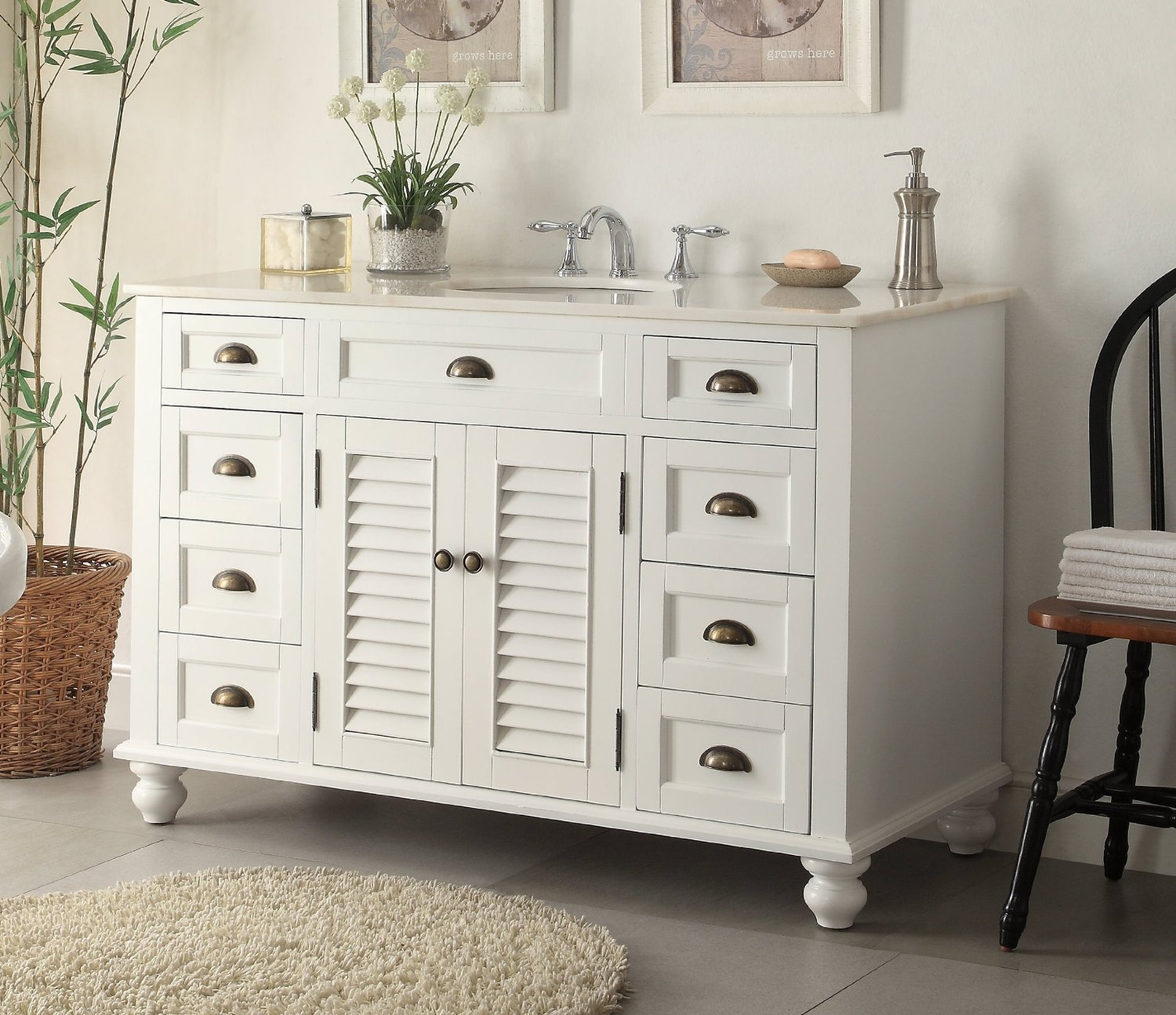 Adelina Inch Antique White Sink Bathroom Vanity Marble Counter Top